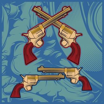 Vettore di disegno a mano pistola incrociata
