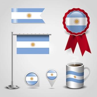 Vettore di disegno della bandierina dell'argentina