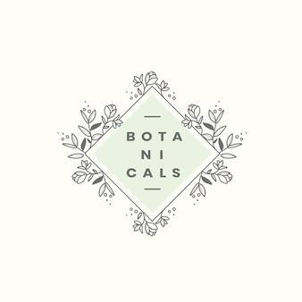 Vettore di disegno distintivo stile botanico