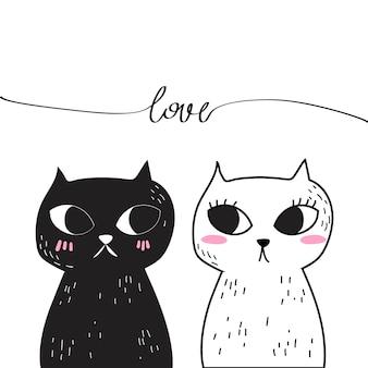 Vettore di doodle amore gatto.
