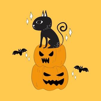 Vettore di doodle di gatto nero e zucche di halloween.