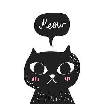Vettore di doodle gatto nero.