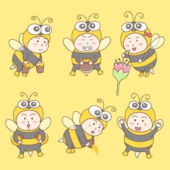 Vettore di elementi di design di simpatico personaggio dei cartoni animati in costumi ape. mascotte delle api