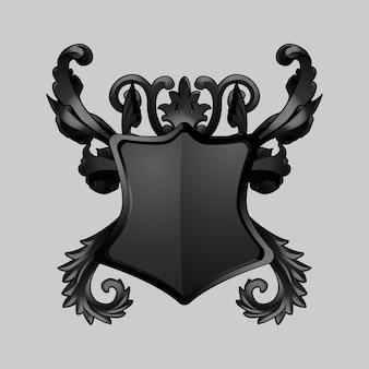 Vettore di elementi di scudo barocco nero