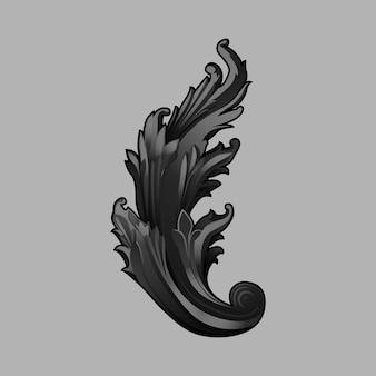 Vettore di elementi floreali barocco nero