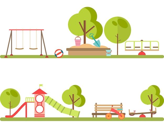 Vettore di elementi infographic di parco giochi.