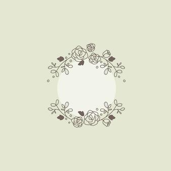 Vettore di elemento di disegno cornice botanica