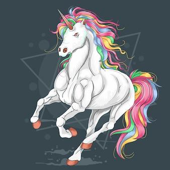 Vettore di esecuzione dell'arcobaleno di colore pieno di unicorno