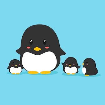 Vettore di famiglia pinguino carino