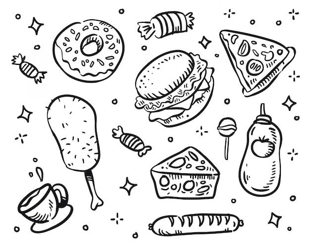 Vettore di fast food. doodle di fast food