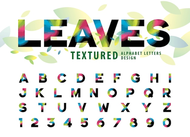 Vettore di foglie trama lettere dell'alfabeto, colorato foglia di palma lettera