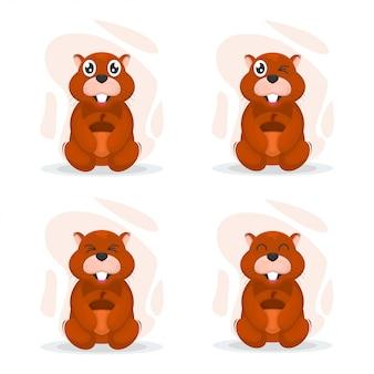Vettore di fumetto del mascot di squirrel sveglio