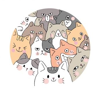 Vettore di gatti viso carino cartone animato.