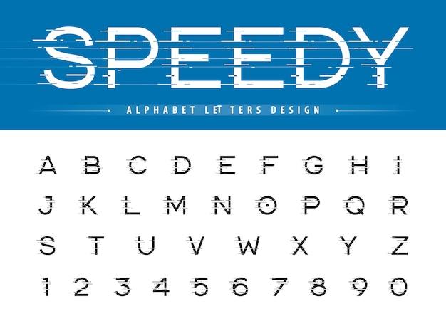 Vettore di glitch modern alphabet lettere e numeri, font arrotondati stilizzati lineari di grunge