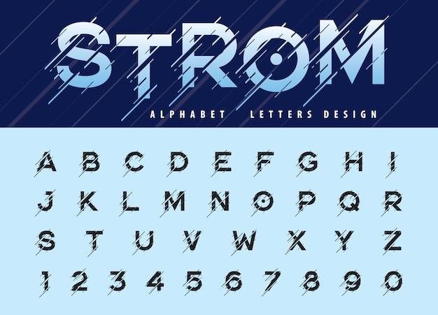 Vettore di glitch modern alphabet lettere e numeri, font stilizzati in movimento storm