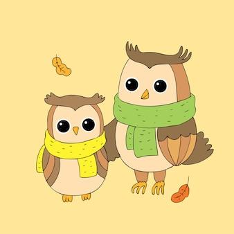 Vettore di gufi autunno carino cartone animato.