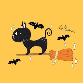 Vettore di halloween gatto nero e pipistrello doodle.