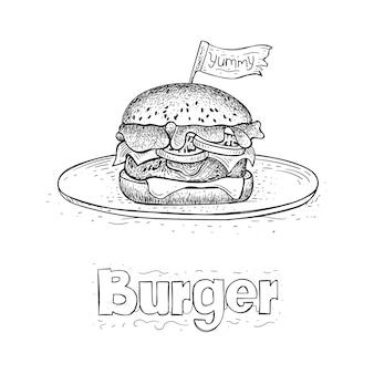 Vettore di hamburger sul piatto, illustrazione di cibo disegnato a mano