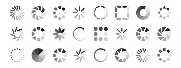 Vettore di icone di caricamento web. indicatori di carico isolati su sfondo bianco