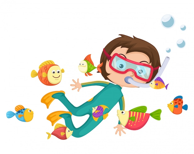 Vettore di immersione con bombole del ragazzo