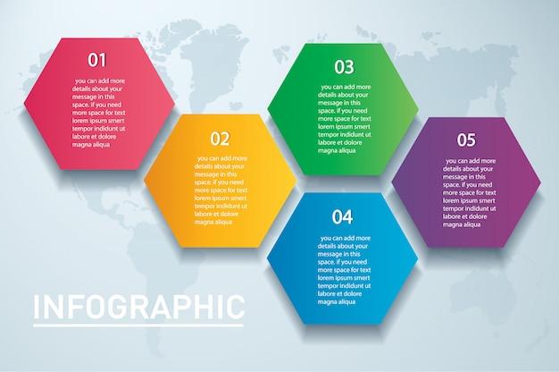 Vettore di infographic esagono colorato