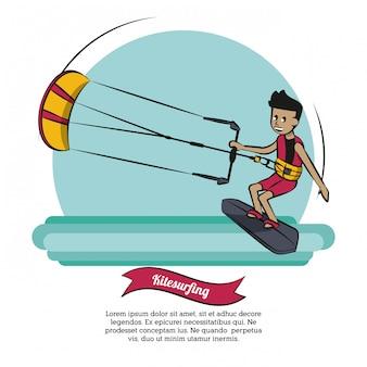 Vettore di kitesurf infographic di sport acquatici