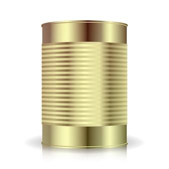 Vettore di lattine metalliche. barattolo di latta in metallo a costine, cibo in scatola. vuoto per il tuo design.