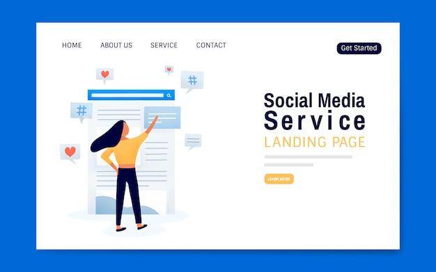 Vettore di layout di pagina di destinazione del servizio di media sociali
