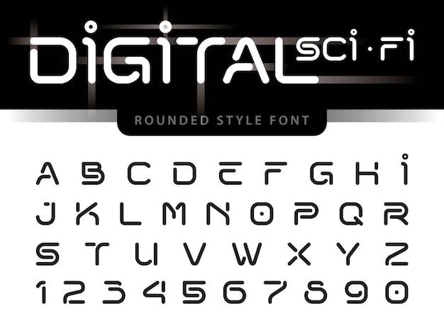 Vettore di lettere alfabeto futuristico
