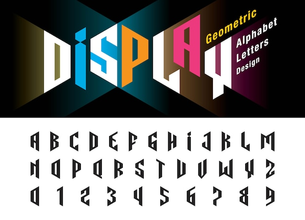 Vettore di lettere dell'alfabeto moderno distorto e numeri, minimalista font design