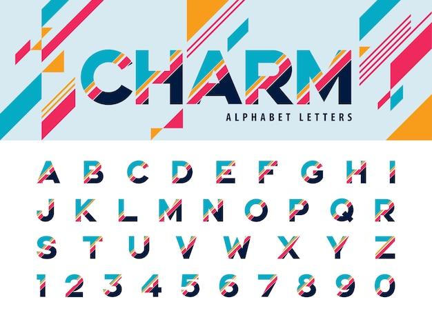 Vettore di lettere dell'alfabeto moderno e numero
