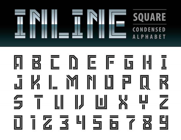 Vettore di lettere dell'alfabeto quadrato moderno, tecnologia di carattere geometrico, futuro futuristico