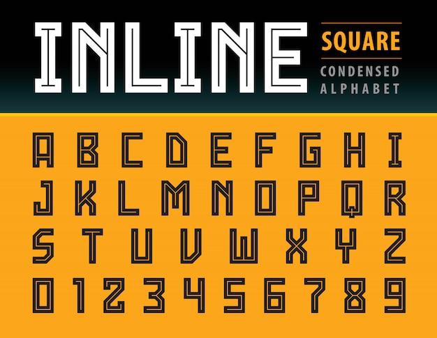 Vettore di lettere di alfabeto quadrato moderno, tecnologia di carattere geometrico, sport