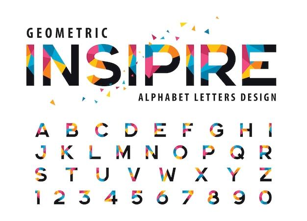 Vettore di lettere geometriche dell'alfabeto, triangolo colorato lettera