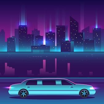 Vettore di limousine davanti al paesaggio urbano della città di notte, metropoli di lusso.