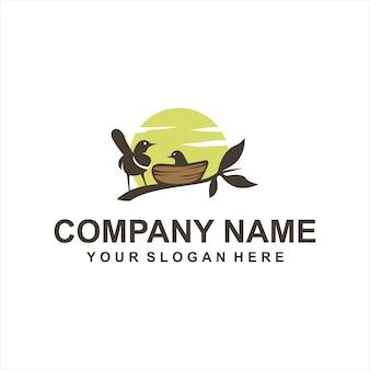 Vettore di logo degli uccelli di nidificazione