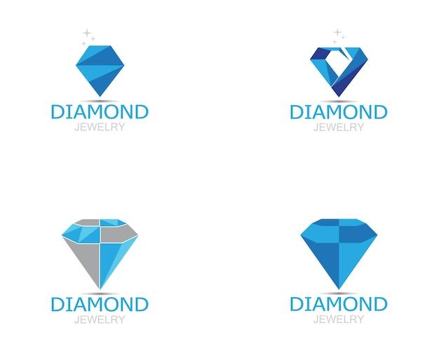 Vettore di logo dei gioielli di diamante blu