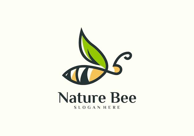 Vettore di logo dell'ape naturale