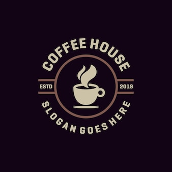 Vettore di logo dell'emblema del caffè