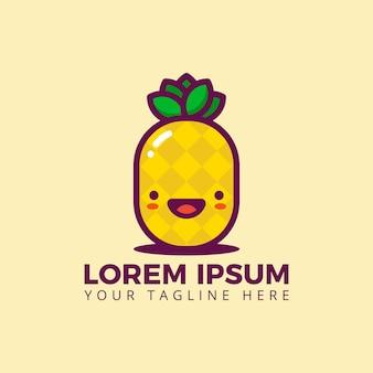 Vettore di logo della frutta di estate dell'ananas fresco