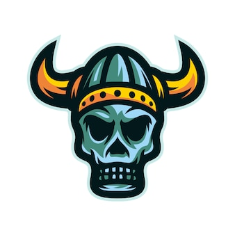 Vettore di logo della mascotte della testa del cranio del guerriero di viking
