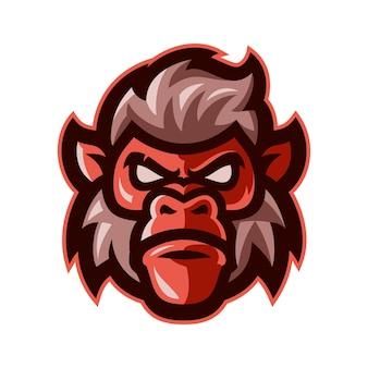 Vettore di logo della mascotte della testa della scimmia
