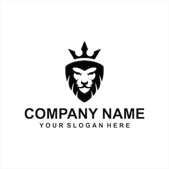 Vettore di logo di re leone nero