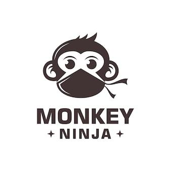 Vettore di logo di scimmia ninja