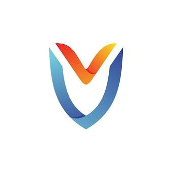 Vettore di logo di scudo della lettera v