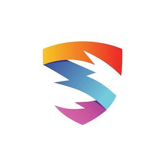 Vettore di logo di scudo thunder lettera s