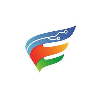Vettore di logo di tecnologia delle ali della lettera e