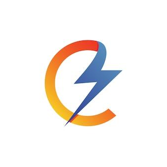 Vettore di logo di tuono della lettera c
