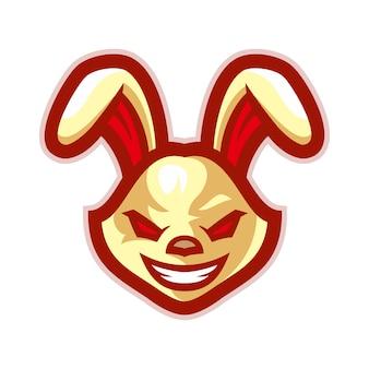 Vettore di logo mascotte testa di coniglio arrabbiato