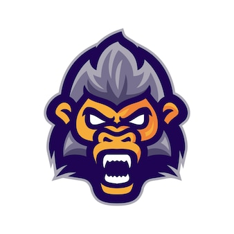 Vettore di logo mascotte testa di scimmia arrabbiato